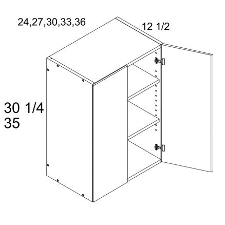 MGW-W3030 - Two Door 12.5'' Deep Wall Cabinet- 30 inch