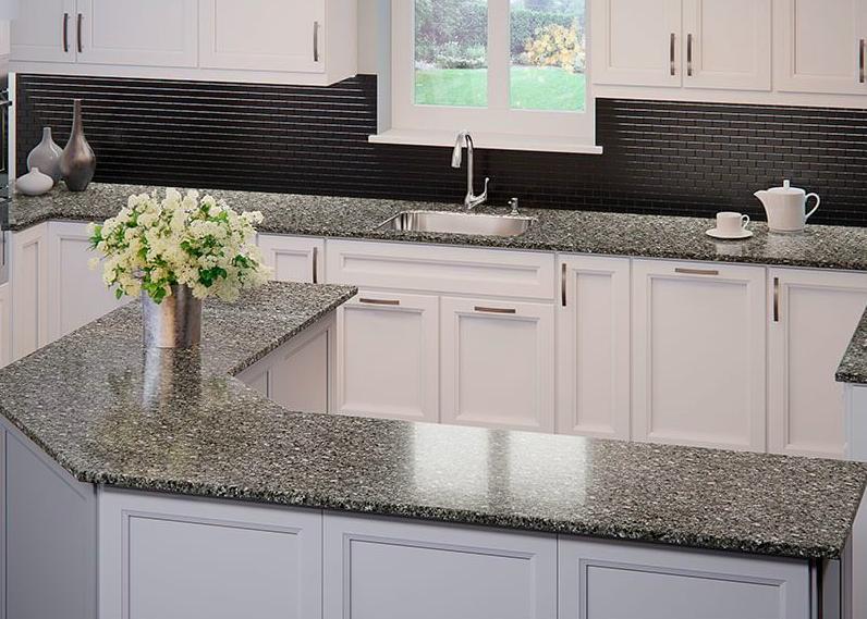 Quartz countertops and gray cabinets