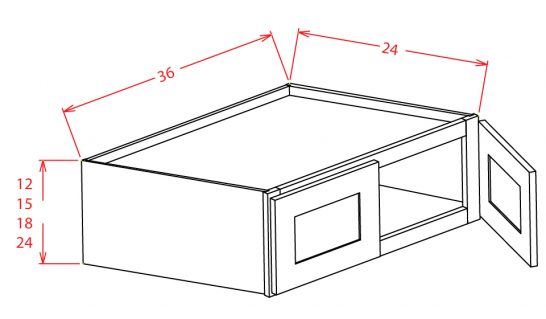 W362424 Bridge Cabinet 36 inch by 24 inch by 24 inch Shaker Dusk
