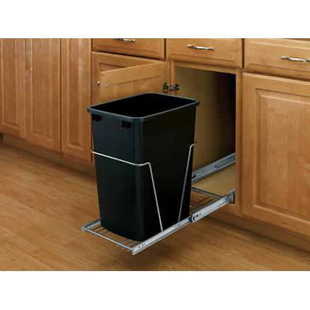 RV-12KD-18C S - Single Bottom Mount Wire w/ Rear Basket Waste Containers