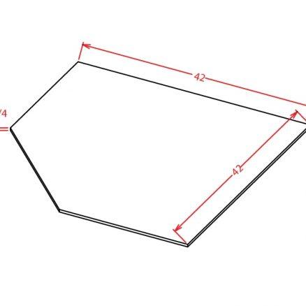 YW-SBF4242 - Sink Base - Diagonal Sink Floor - 42 inch
