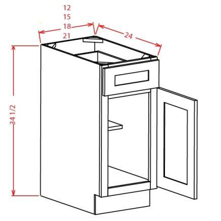 SMW-B12 - Single Door Single Drawer Bases - 36 inch