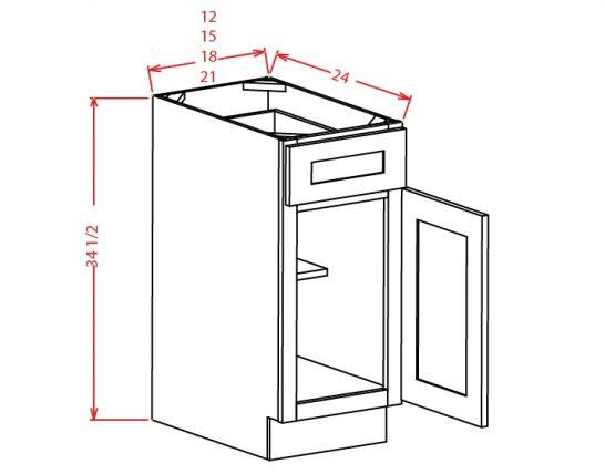 YW-B12 - Single Door Single Drawer Bases - 12 inch