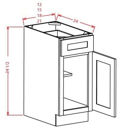 TD-B15 - Single Door Single Drawer Bases - 15 inch
