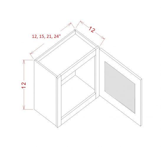 YW-W1512GD - Single Door Stacker Wall Cabinet