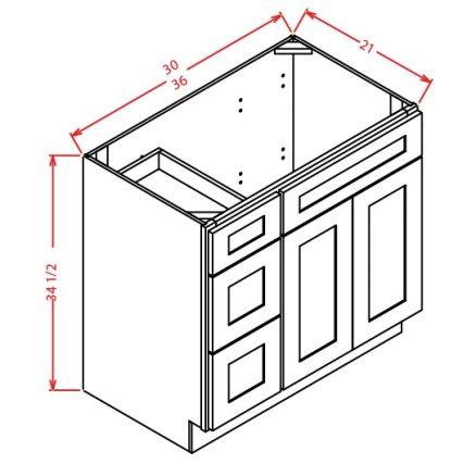 CS-V3621DL - Vanity Combo Bases-Drawers Left - 36 inch
