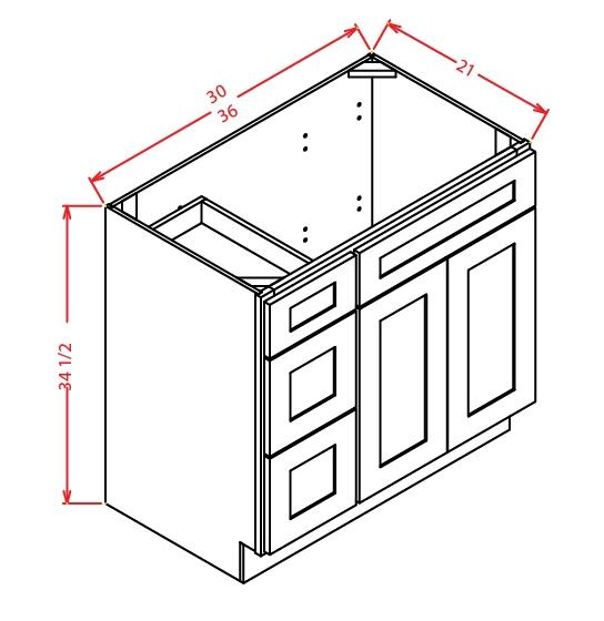 YW-V3621DL - Vanity Combo Bases-Drawers Left - 36 inch