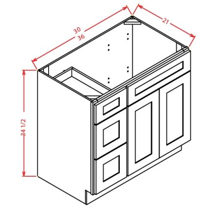 YC-V3621DL - Vanity Combo Bases-Drawers Left - 36 inch