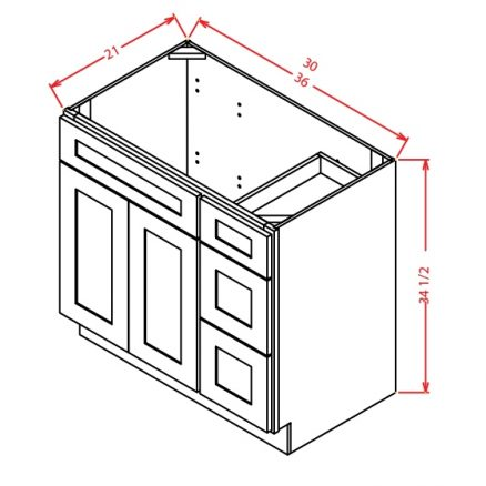 TW-V3021DR - Vanity Combo Bases-Drawers Right - 30 inch
