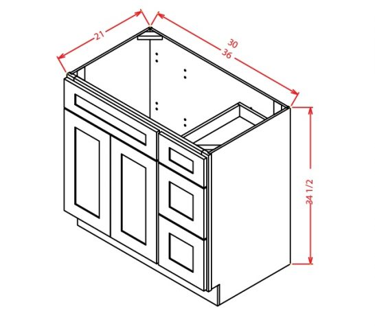YW-V3021DR - Vanity Combo Bases-Drawers Right - 30 inch