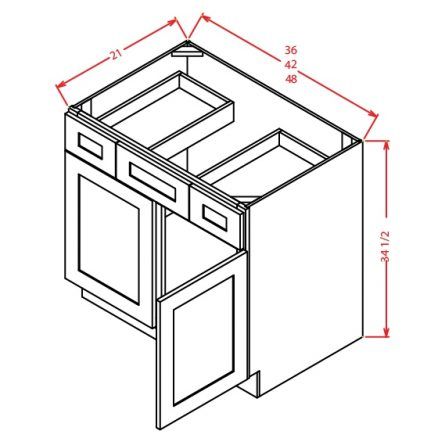 SA-VDDB48 - Vanity Dcombo Base Double Drawer Stacks - 48 inch