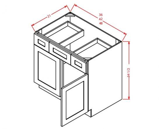 SA-VDDB60 - Vanity Dcombo Base Double Drawer Stacks - 60 inch