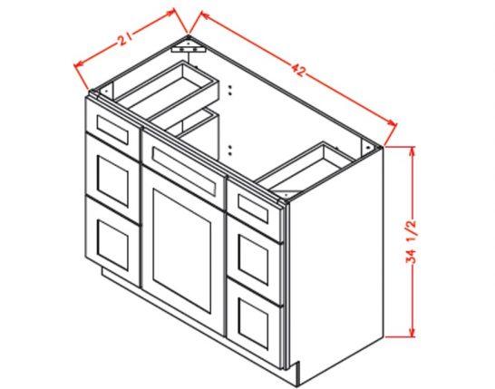 CW-VDDB42 - Vanity Dcombo Base Double Drawer Stacks - 42 inch