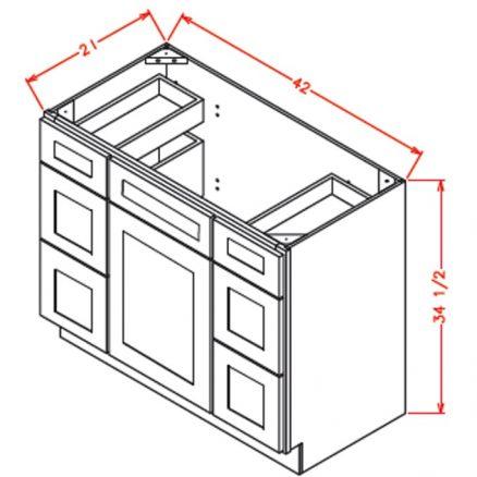 TW-VDDB42 - Vanity Dcombo Base Double Drawer Stacks - 42 inch