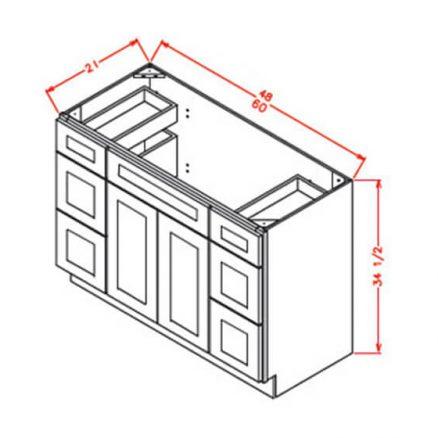 SC-VDDB48 - Vanity Dcombo Base Double Drawer Stacks - 48 inch