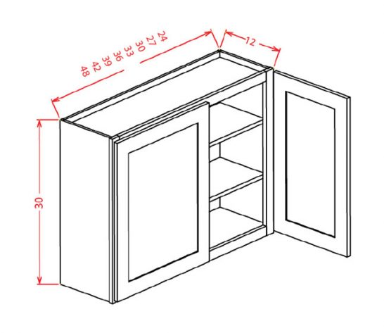 "SMW-W3942 - 42"" High Wall Cabinet-Double Door  - 96 inch"