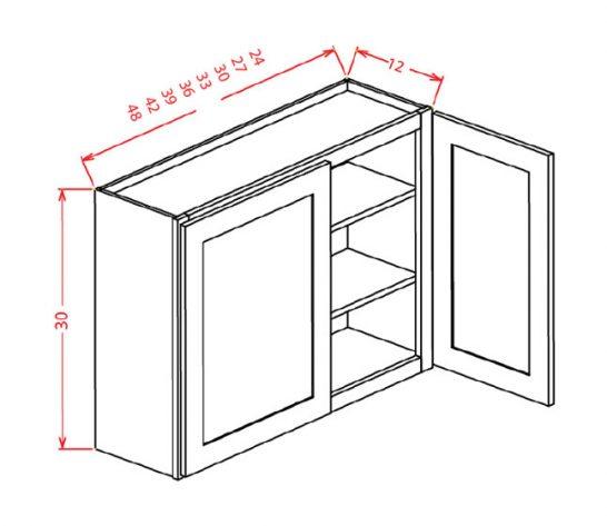 "SMW-W4236 - 36"" High Wall Cabinet-Double Door  - 33 inch"