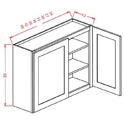 "SMW-W4830 - 30"" High Wall Cabinet-Double Door  - 39 inch"