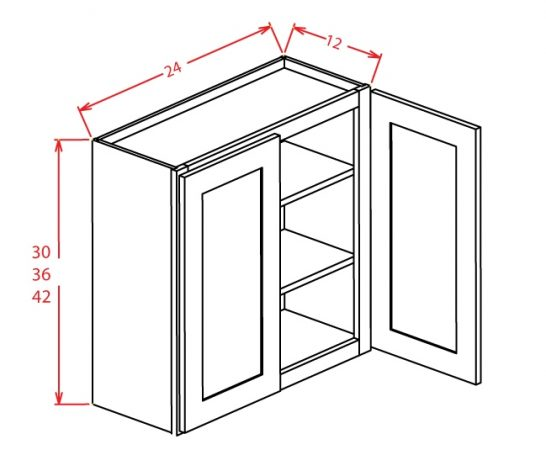 """YW-W2430GD - 30"""" High Wall Cabinet-Double Door  - 24 inch"""