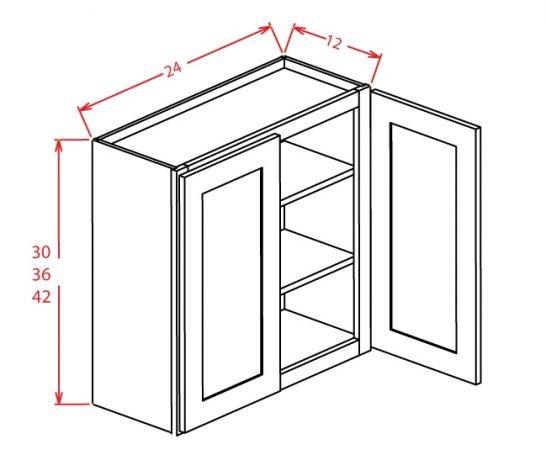 """CS-W2436GD - 36"""" High Wall Cabinet-Double Door  - 24 inch"""