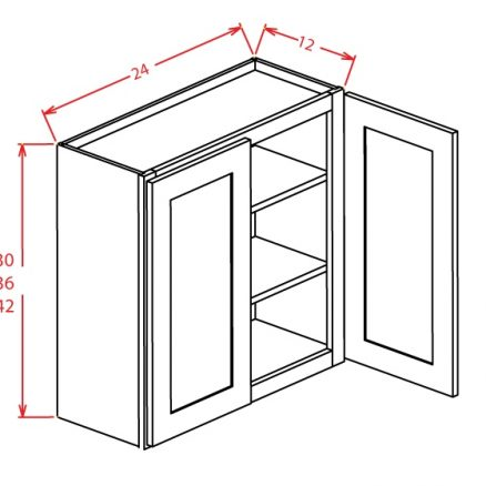 """TW-W2442GD - 42"""" High Wall Cabinet-Double Door  - 24 inch"""