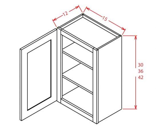 "TW-W1530GD - 30"" High Wall Cabinet-Single Door  - 15 inch"