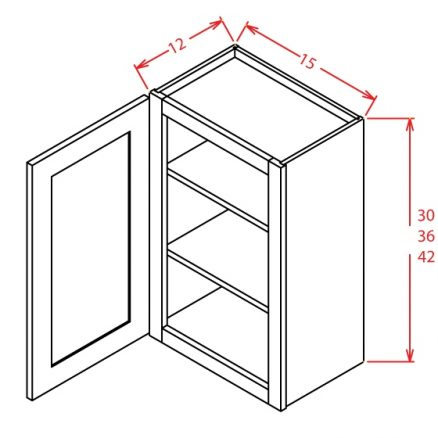 "SA-W1530GD - 30"" High Wall Cabinet-Single Door  - 15 inch"